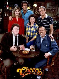 Cheers (US TV Series) (1982-1993) | Pers: George Wendt, Shelley Long, Ted Danson, Rhea Perlman, Woody Harrelson, John Ratzenberger | Ref: TVC017CG | Photo Credit: [ Paramount TV / The Kobal Collection ] | Editorial use only related to cinema, television and personalities. Not for cover use, advertising or fictional works without specific prior agreement