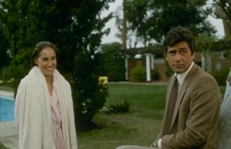 """DYNASTY - """"The Miscarriage"""" - Airdate December 16, 1981. (Photo by ABC Photo Archives/ABC via Getty Images) PAMELA BELLWOOD;JAMES FARENTINO"""