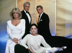 """DYNASTY - """"Photo Gallery"""" which aired on December 28, 1984. (Photo by ABC Photo Archives/ABC via Getty Images) LINDA EVANS;JOHN FORSYTHE;ALI MACGRAW;ROCK HUDSON"""