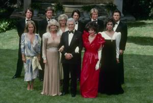 """DYNASTY - """"The Wedding"""" which aired on May 15, 1985. (Photo by ABC Photo Archives/ABC via Getty Images) PAMELA BELLWOOD;GORDON THOMSON;JOHN JAMES;LINDA EVANS;CATHERINE OXENBERG;JOHN FORSYTHE;MICHAEL PRAED;JOAN COLLINS;DIAHANN CARROLL;MICHAEL NADER"""